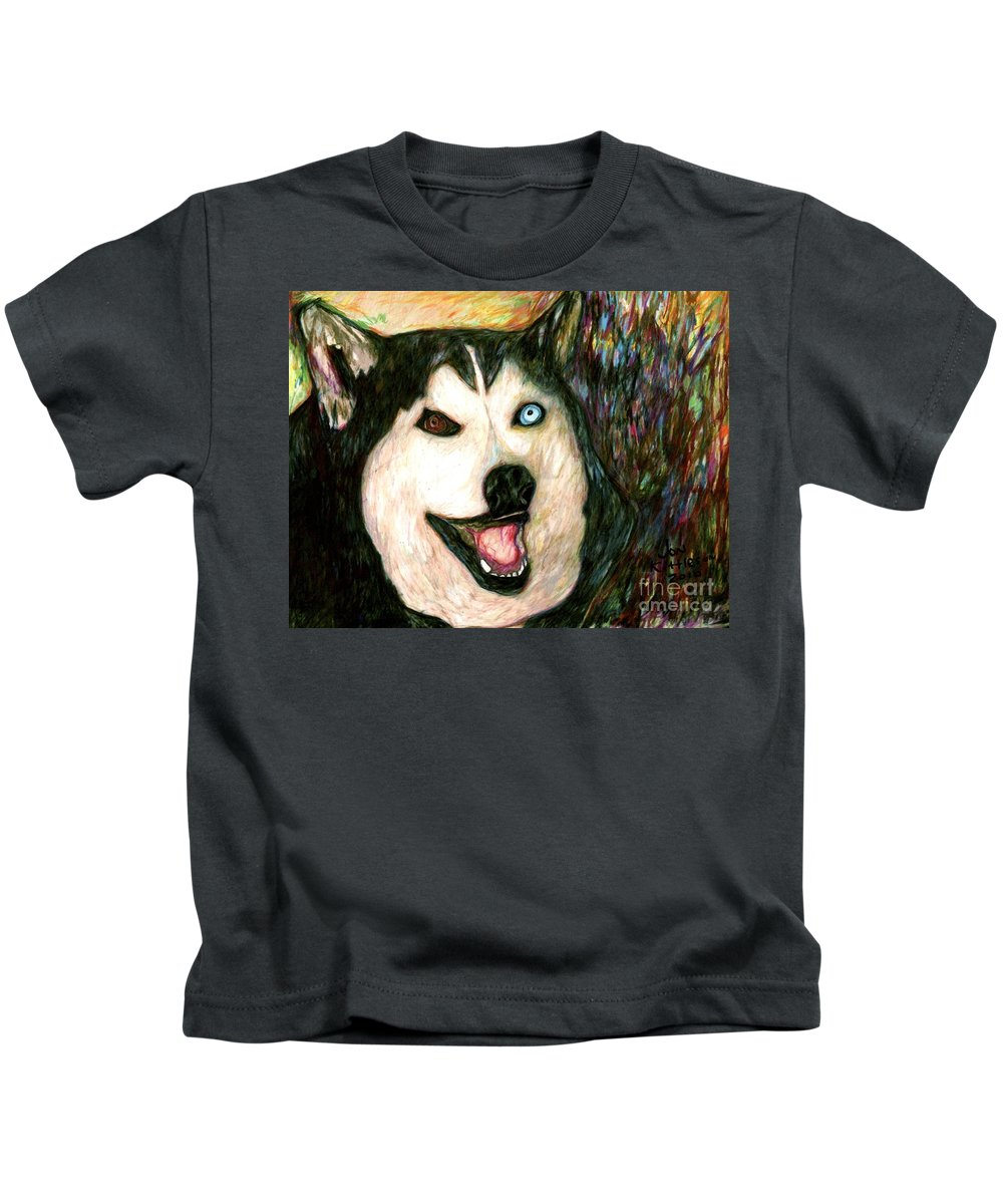 A Family Dog Kids T-Shirt featuring the drawing Dakotah by Jon Kittleson