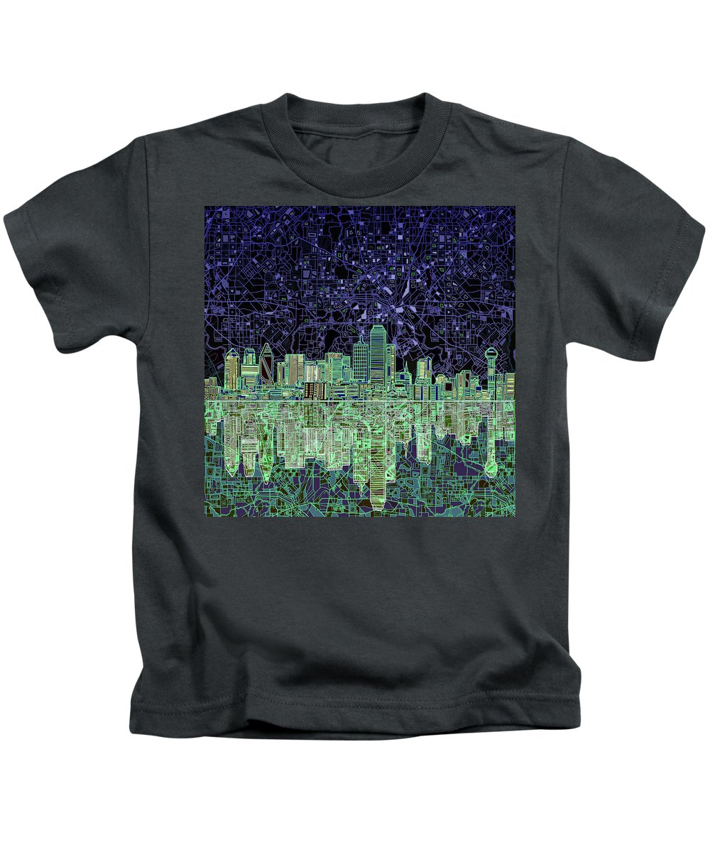 Dallas Kids T-Shirt featuring the painting Dallas Skyline Abstract 4 by Bekim Art