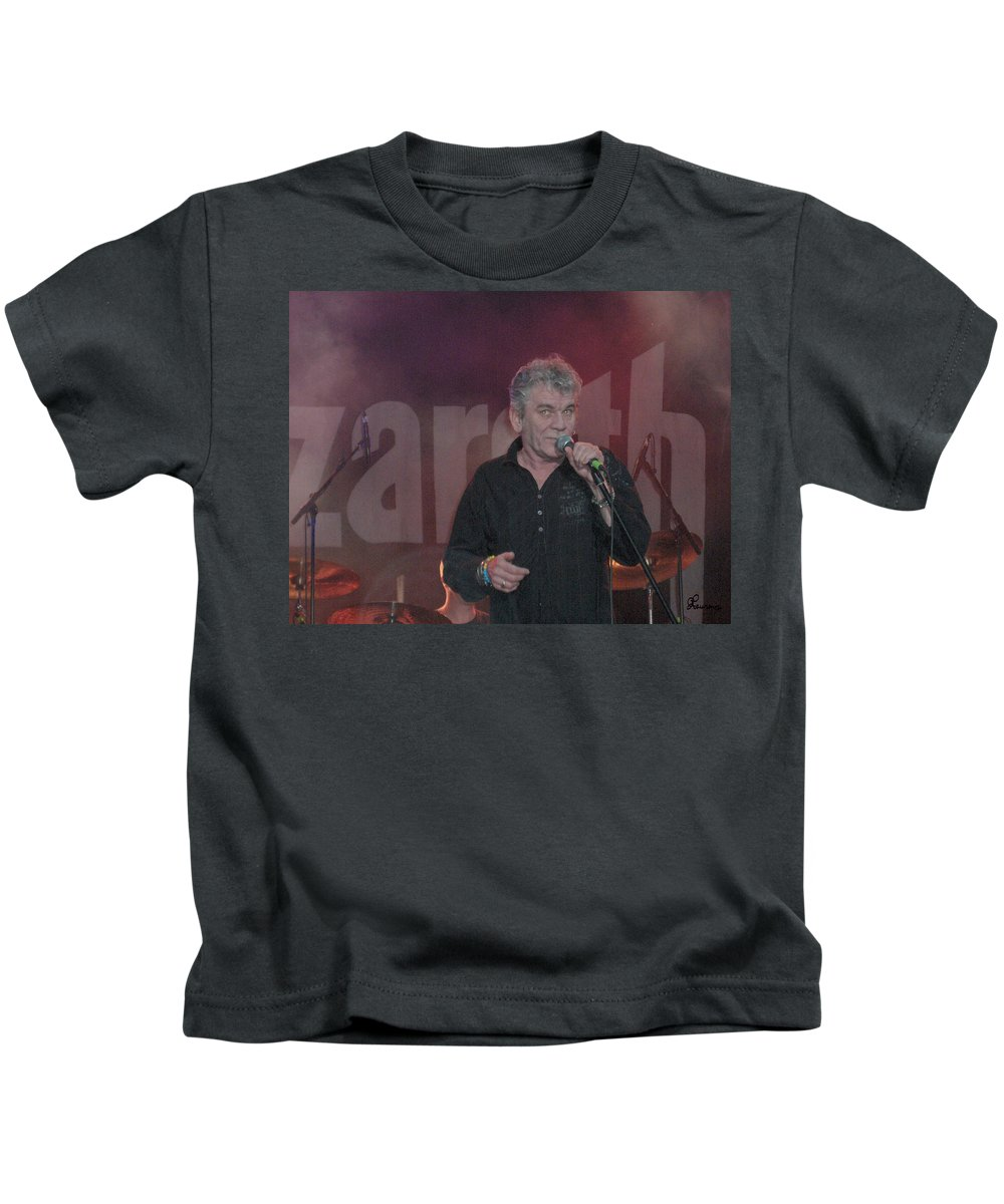 Dan Mcafferty Nazareth Band Music Classic Rock And Roll Singer Kids T-Shirt featuring the photograph Dan Mccafferty by Andrea Lawrence