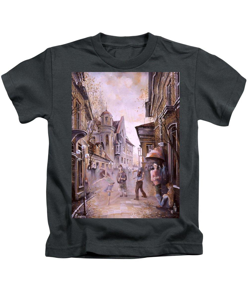 Dance Kids T-Shirt featuring the painting Dance Dance by Aleksandr Starodubov