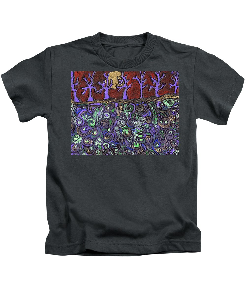 Trees Kids T-Shirt featuring the painting Dancing With The Trees by Wayne Potrafka