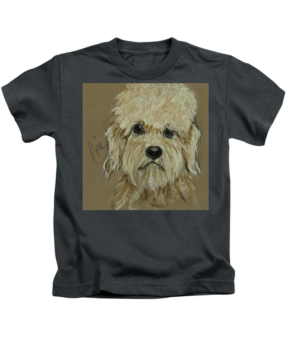Dandie Dinmont Terrier Kids T-Shirt featuring the drawing Dandie by Cori Solomon