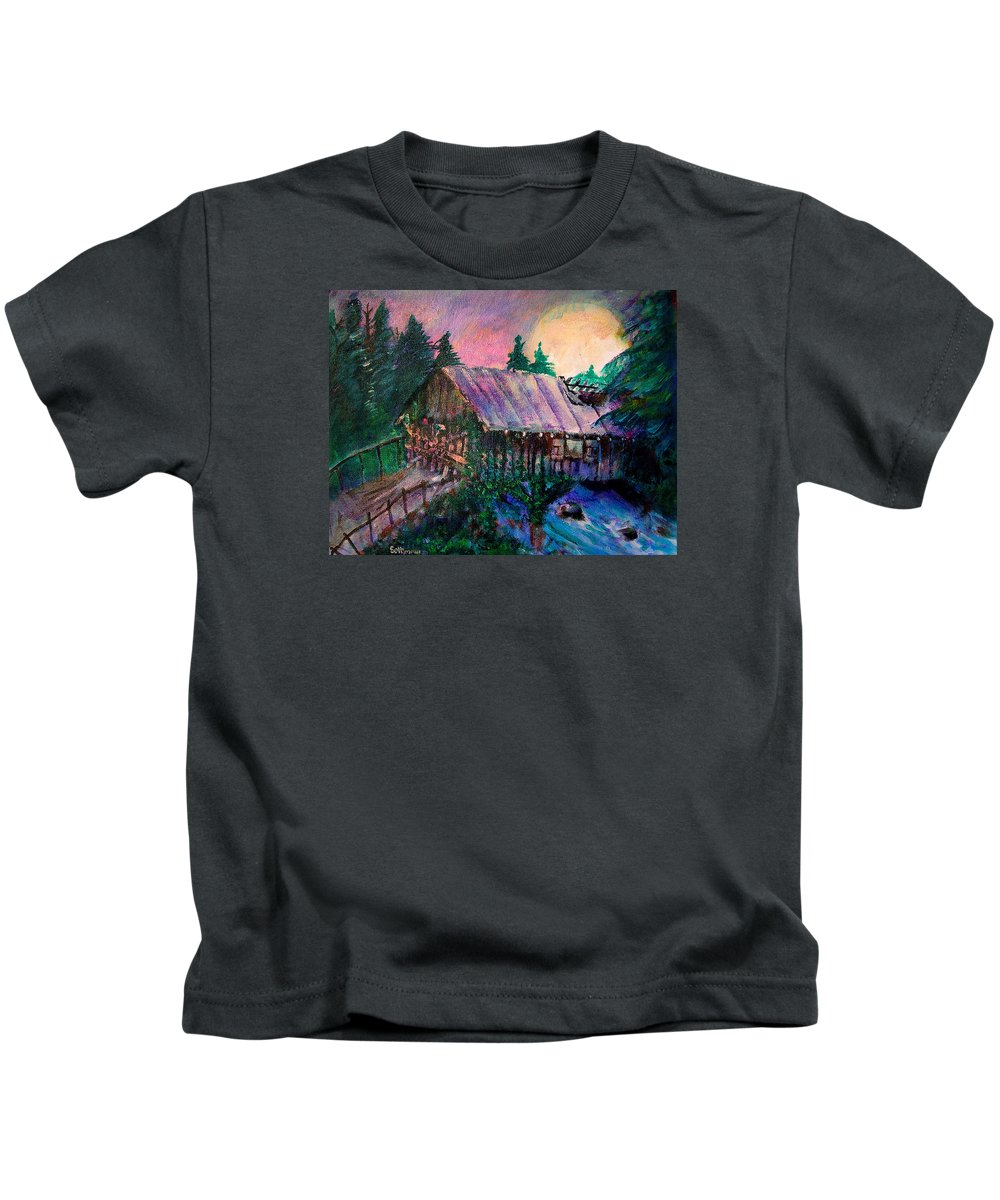 Dangerous Bridge Kids T-Shirt featuring the painting Dangerous Bridge by Seth Weaver