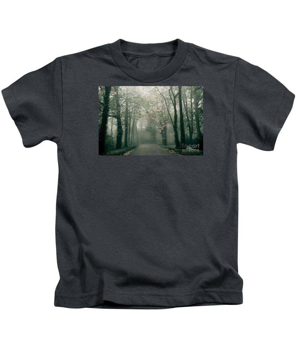 Fall Kids T-Shirt featuring the photograph Dark Gloomy Alley In Woods by Arletta Cwalina