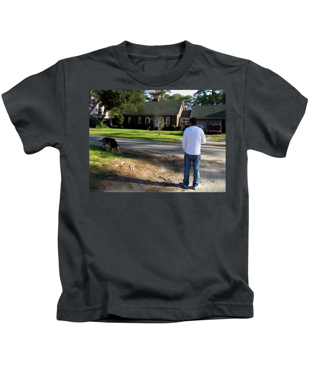 Man Kids T-Shirt featuring the painting Daryl And His Dog 1 by Jeelan Clark