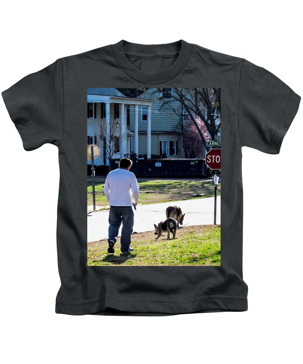 Man Kids T-Shirt featuring the painting Daryl And His Dog 2 by Jeelan Clark
