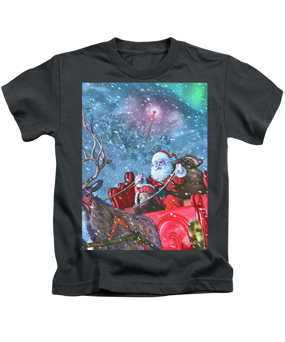 Santa Claus Kids T-Shirt featuring the digital art Dash Away All by Dave Luebbert