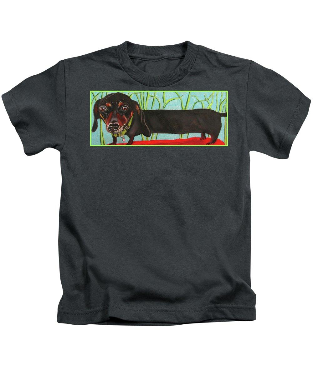 Dog Painting Kids T-Shirt featuring the pastel Dash Hound by Michelle Hayden-Marsan