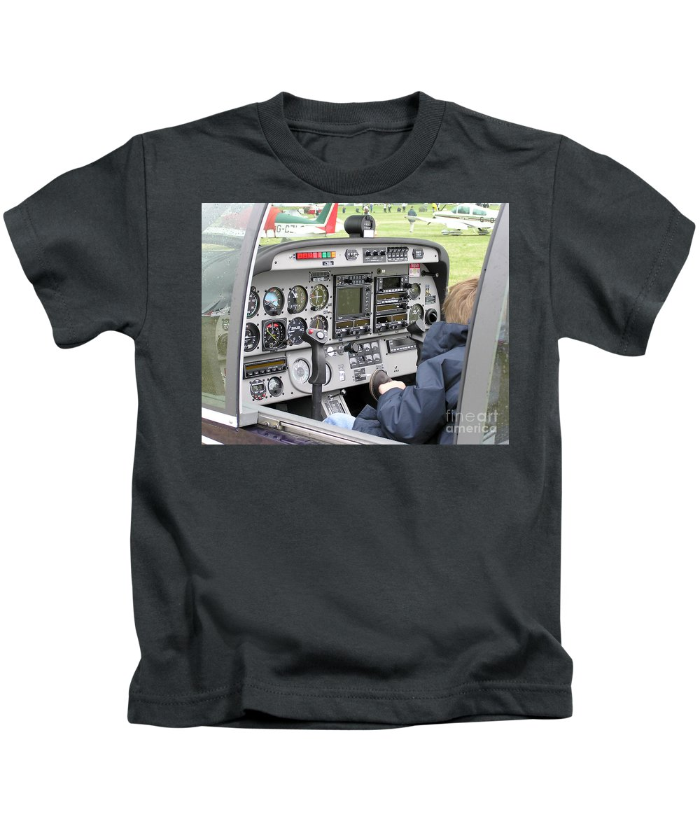 Dashboard Of A Robin Dr400 President Kids T-Shirt featuring the photograph Dashboard Of A Robin Dr400 President by R Muirhead Art