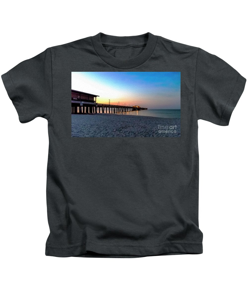1283a Kids T-Shirt featuring the photograph Dawn At Gulf Shores Pier Al Seascape 1283a Digital Painting by Ricardos Creations