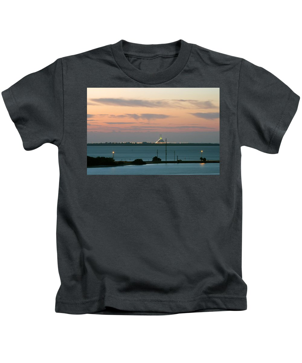 Sunshine Kids T-Shirt featuring the photograph Dawn At The Sunshine Skyway Bridge Viewed From Tierra Verde Florida by Mal Bray