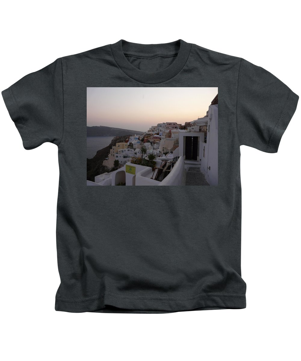 Landscape Kids T-Shirt featuring the photograph Dawn In Oia Santorini Greece by Valerie Ornstein