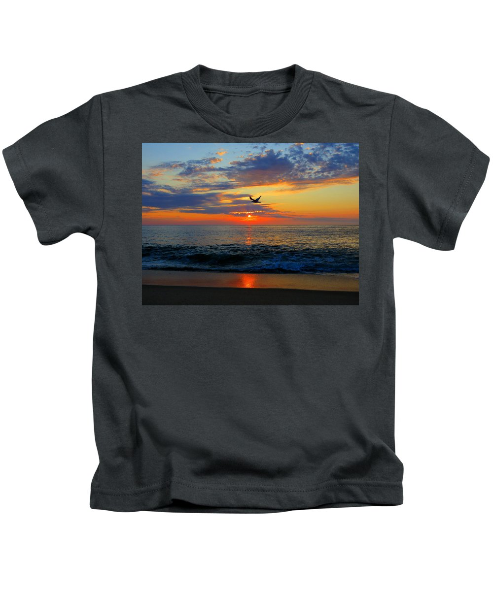 Sea Kids T-Shirt featuring the photograph Dawning Flight by Dianne Cowen