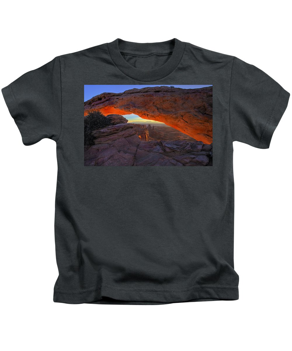 Mesa Arch Kids T-Shirt featuring the photograph Dawns Early Light by Mike Dawson