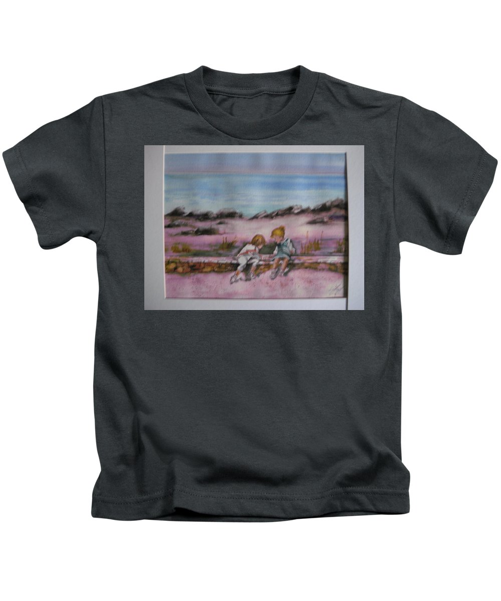 Seascape Kids T-Shirt featuring the painting Day At Beach by Susan Brens