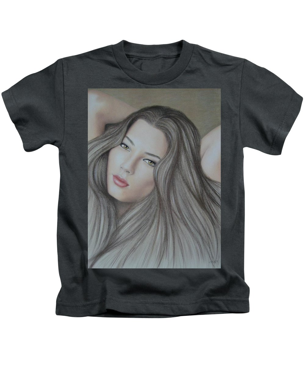 Woman Kids T-Shirt featuring the painting Daydreaming by Lynet McDonald