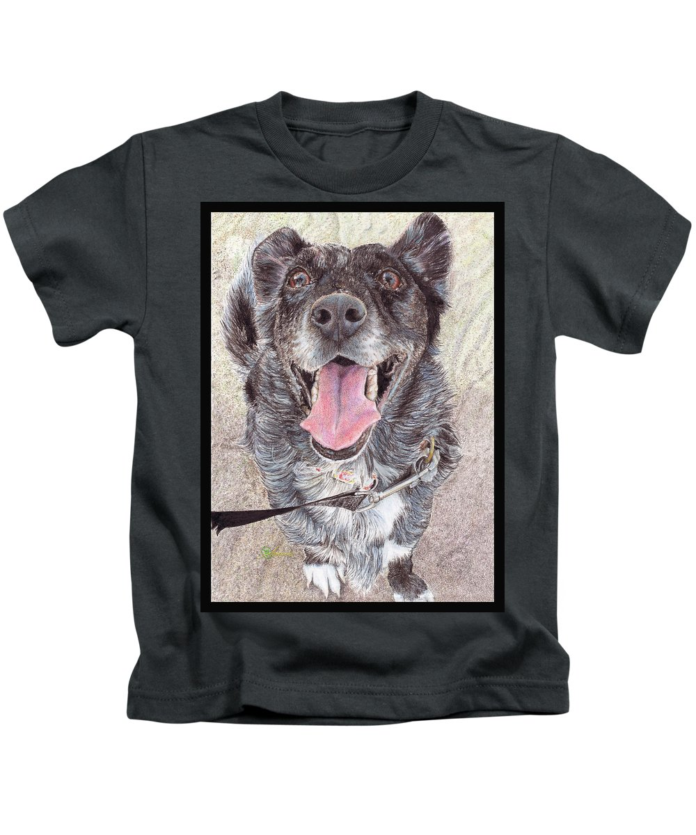 Quaint Kids T-Shirt featuring the painting Dedicated Dog by Adrienne