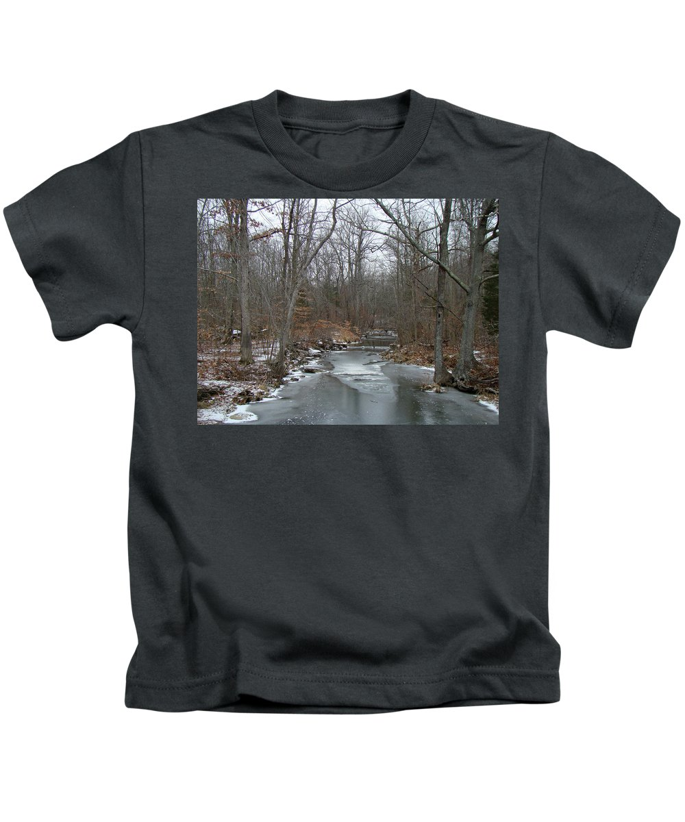 Ice Kids T-Shirt featuring the photograph Deep Creek - Green Lane - Pa by Mother Nature