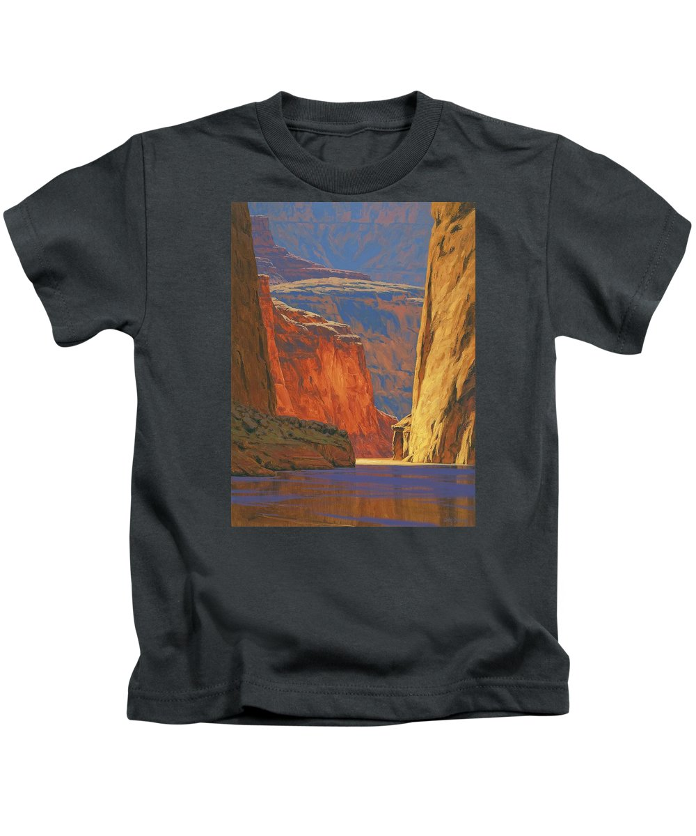 Grand Canyon Kids T-Shirt featuring the painting Deep in the Canyon by Cody DeLong