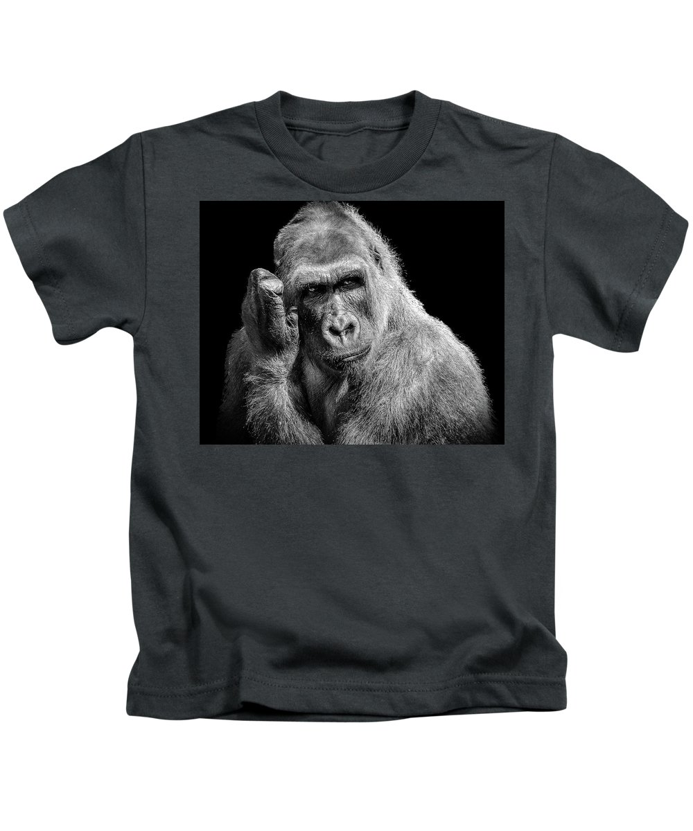 Gorilla Kids T-Shirt featuring the photograph Deep Thought by Hugh Mobley