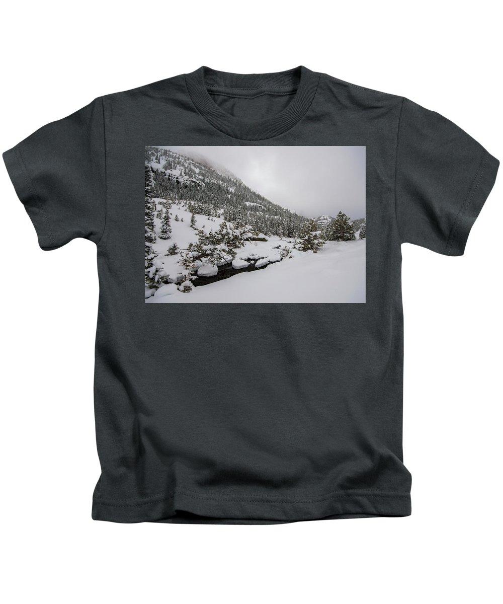 Landscape Kids T-Shirt featuring the photograph Deep Winter River by Rob Lantz
