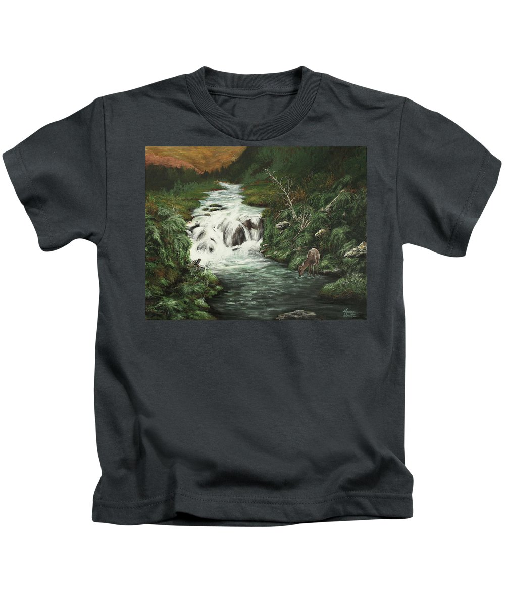Deer Kids T-Shirt featuring the painting Deer Creek by Janice Smith
