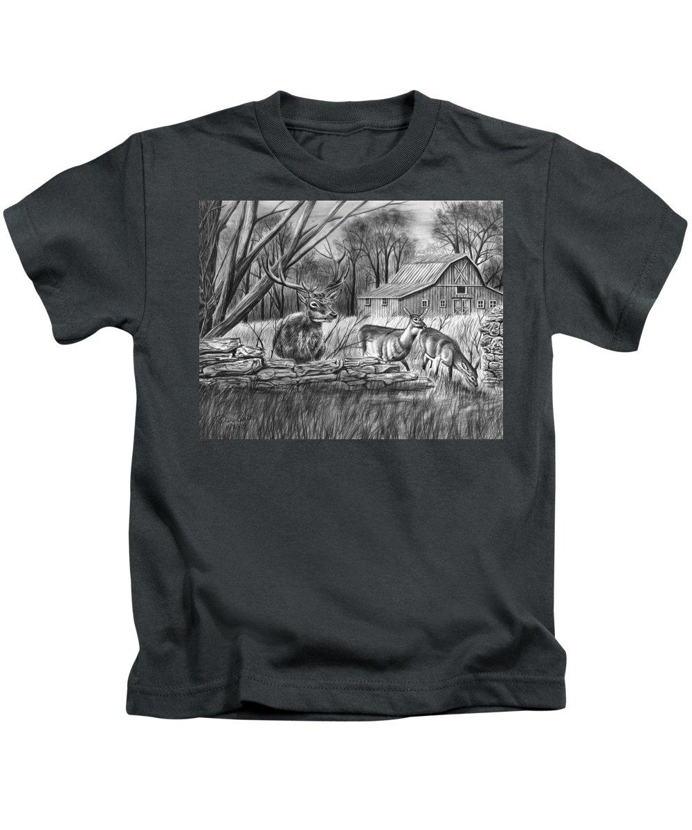 Deer Field Kids T-Shirt featuring the drawing Deer Field by Peter Piatt