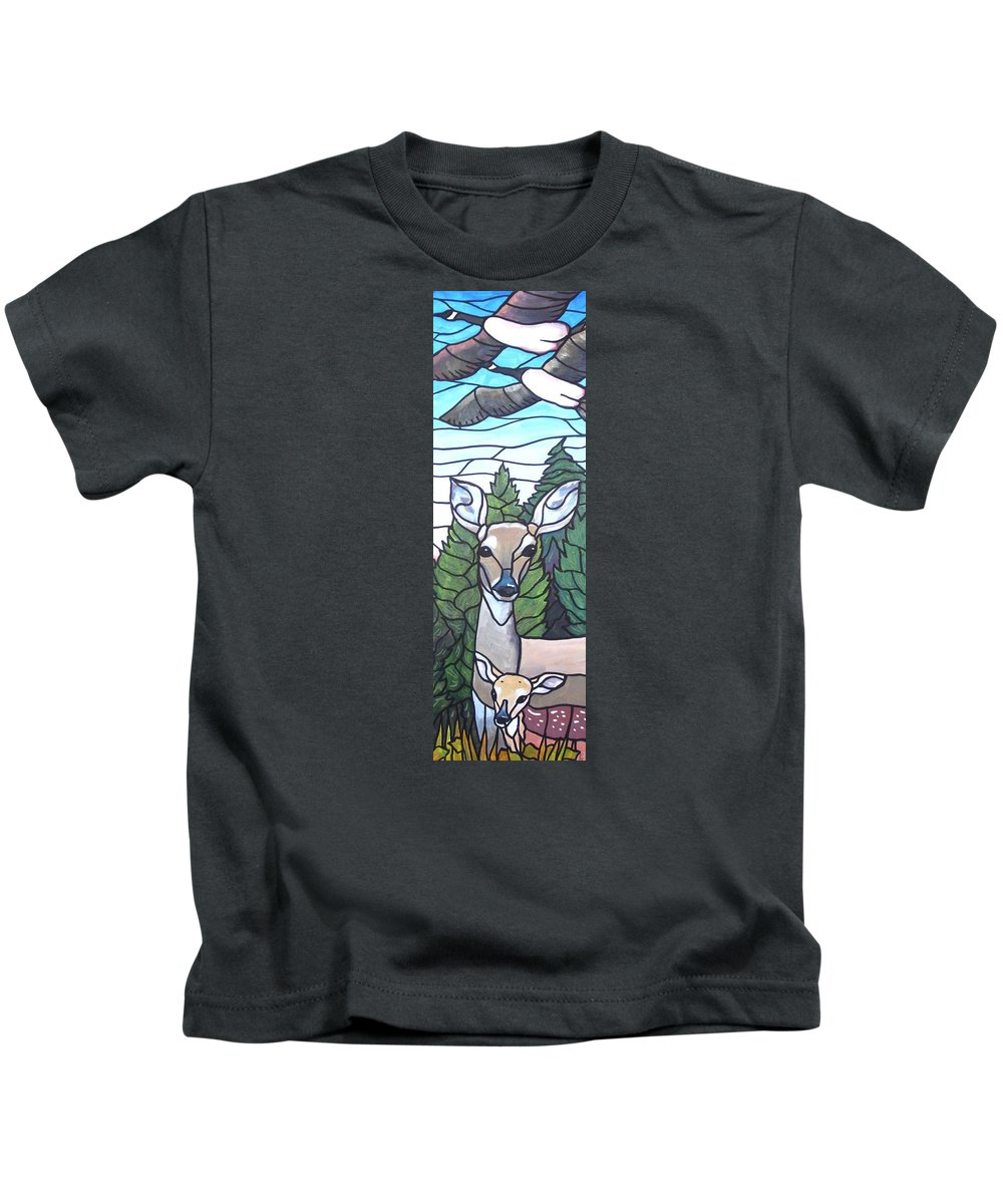 Deer Kids T-Shirt featuring the painting Deer Scene by Jim Harris