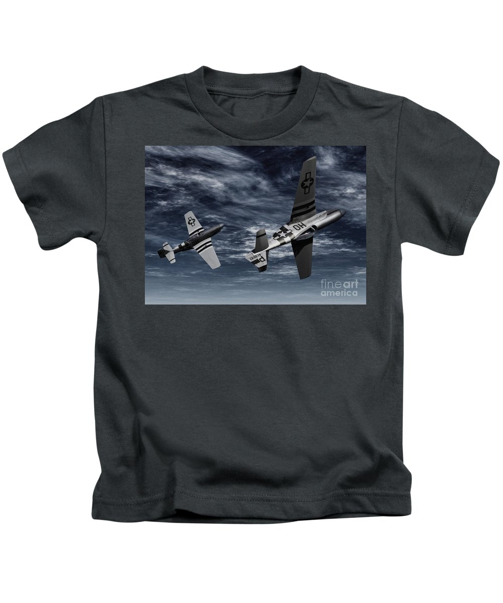 Aircombat Kids T-Shirt featuring the digital art Defensive Split by Richard Rizzo