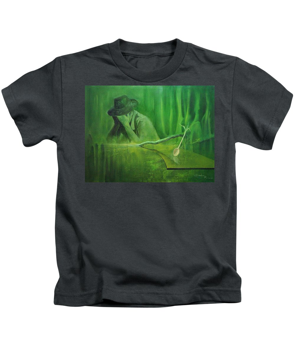Surreal Kids T-Shirt featuring the painting Deforestation by Marco Cuba-Ricsi