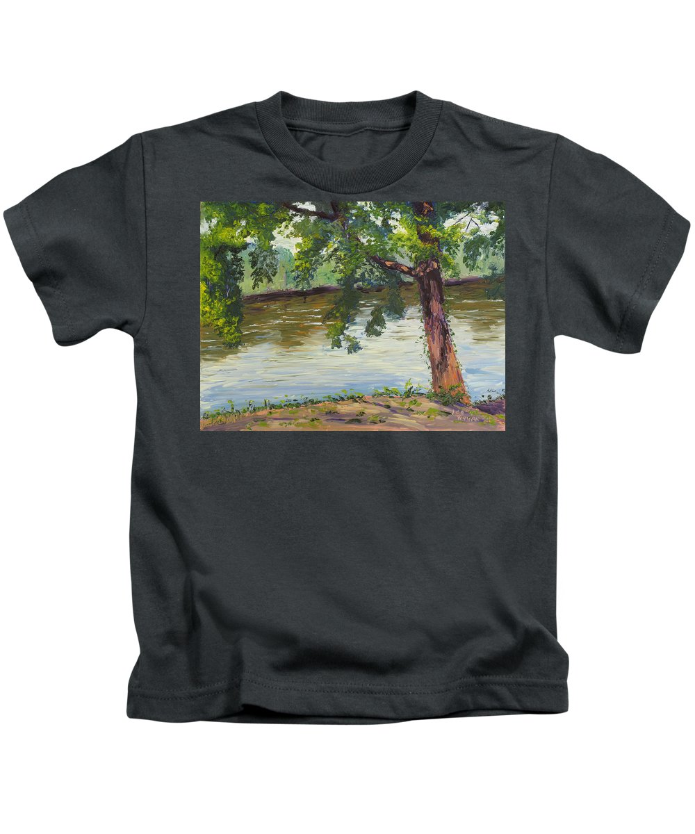 Landscape Kids T-Shirt featuring the painting Delaware River At Washington's Crossing by Lea Novak