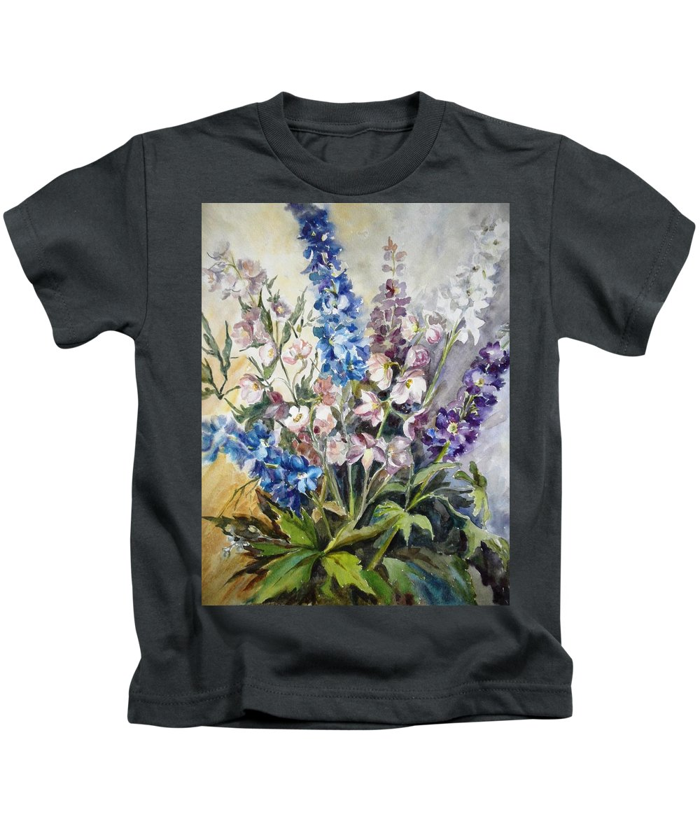 Delphinium Kids T-Shirt featuring the painting Delphiniums by Natalya Slepneva