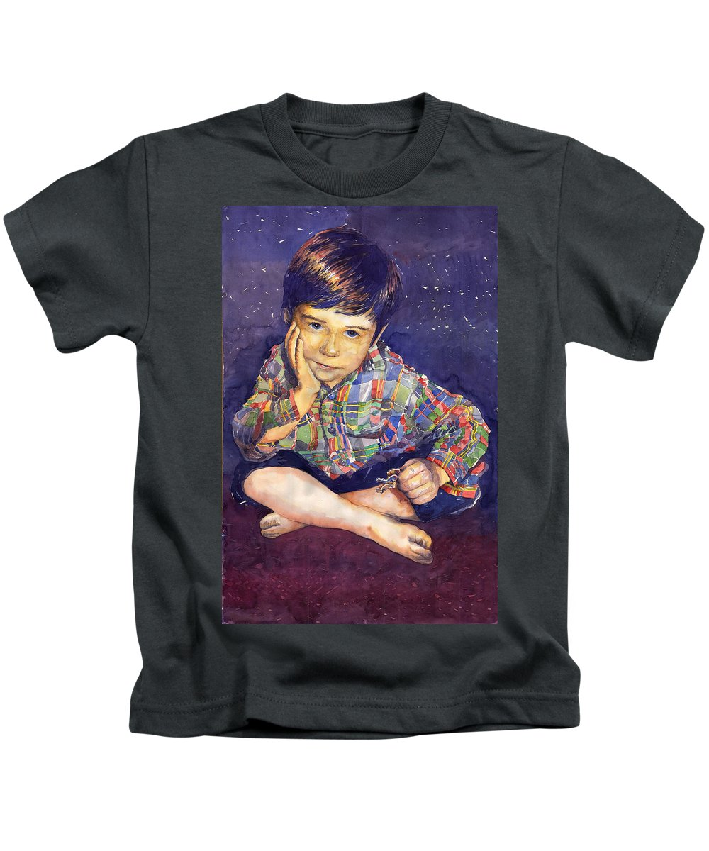 Watercolor Watercolour Portret Figurativ Realism People Commissioned Kids T-Shirt featuring the painting Denis 01 by Yuriy Shevchuk