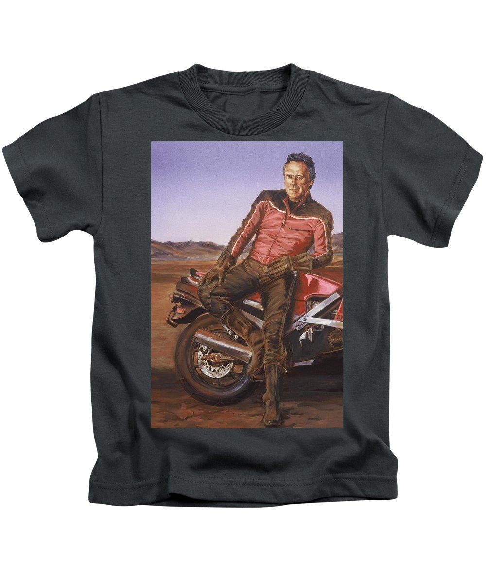 Dennis Hopper Kids T-Shirt featuring the painting Dennis Hopper by Bryan Bustard