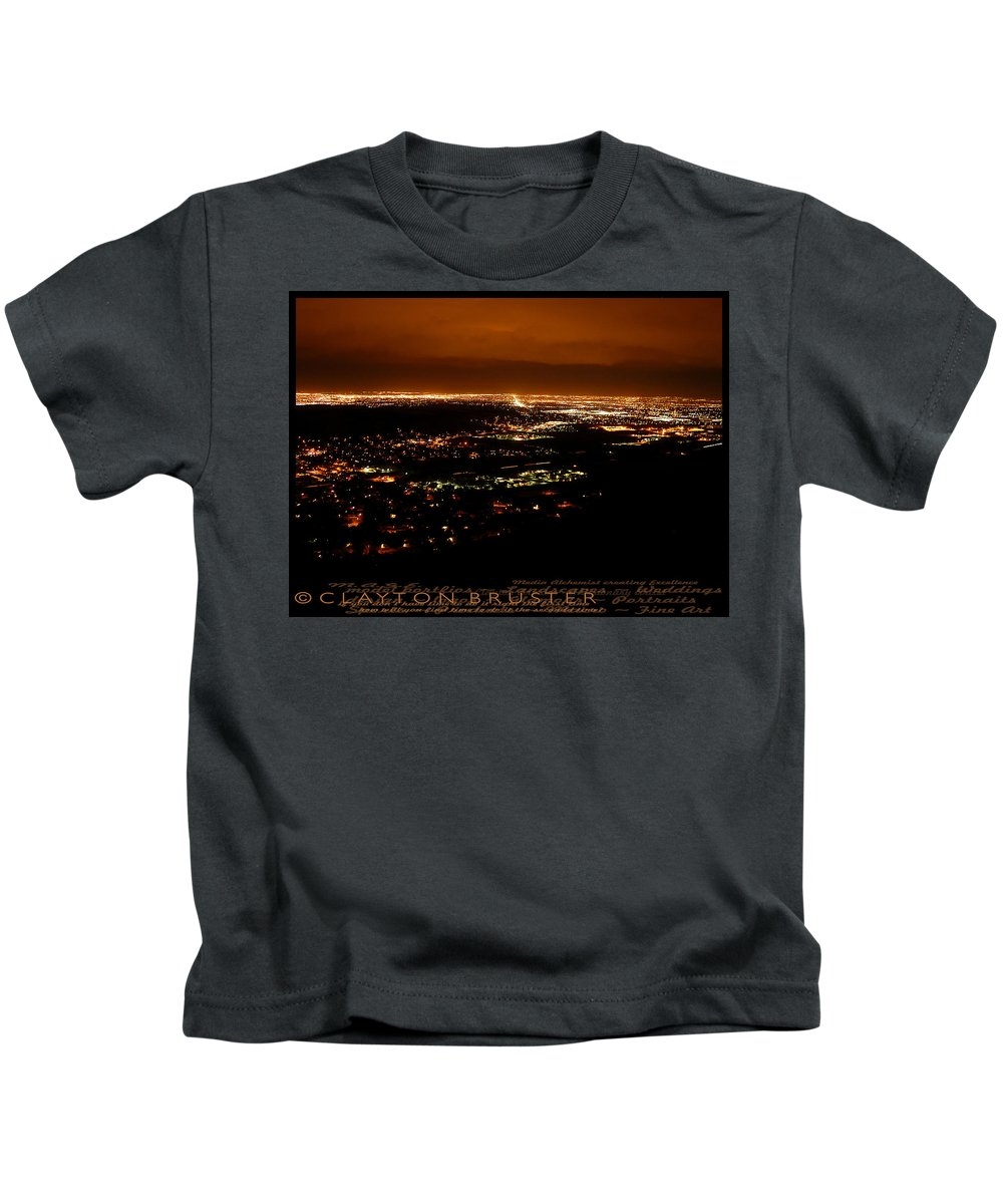 Clay Kids T-Shirt featuring the photograph Denver Area At Night From Lookout Mountain by Clayton Bruster