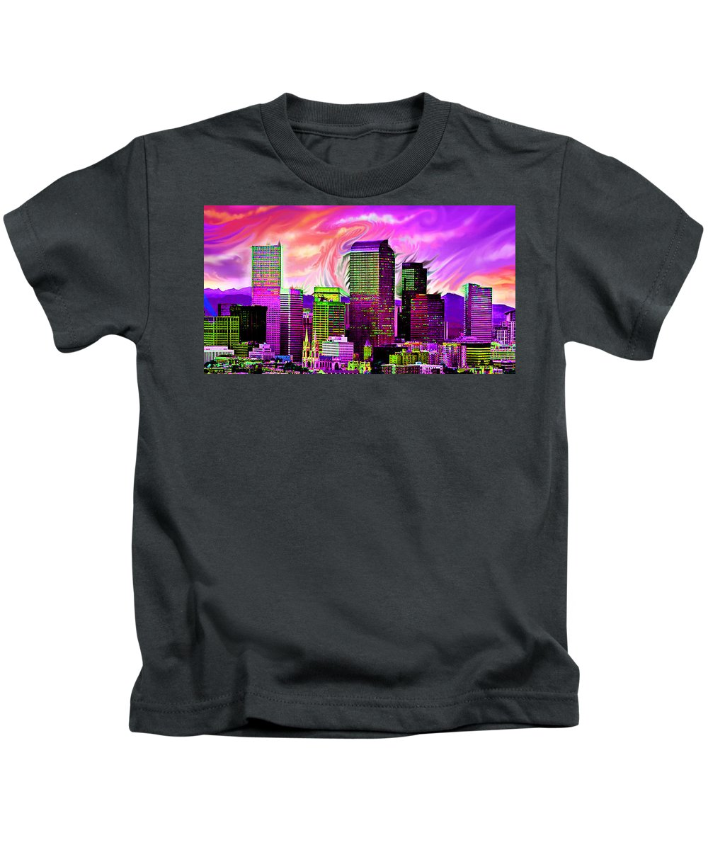 Denver Kids T-Shirt featuring the digital art Denver Skyline by Carolyn Anderson