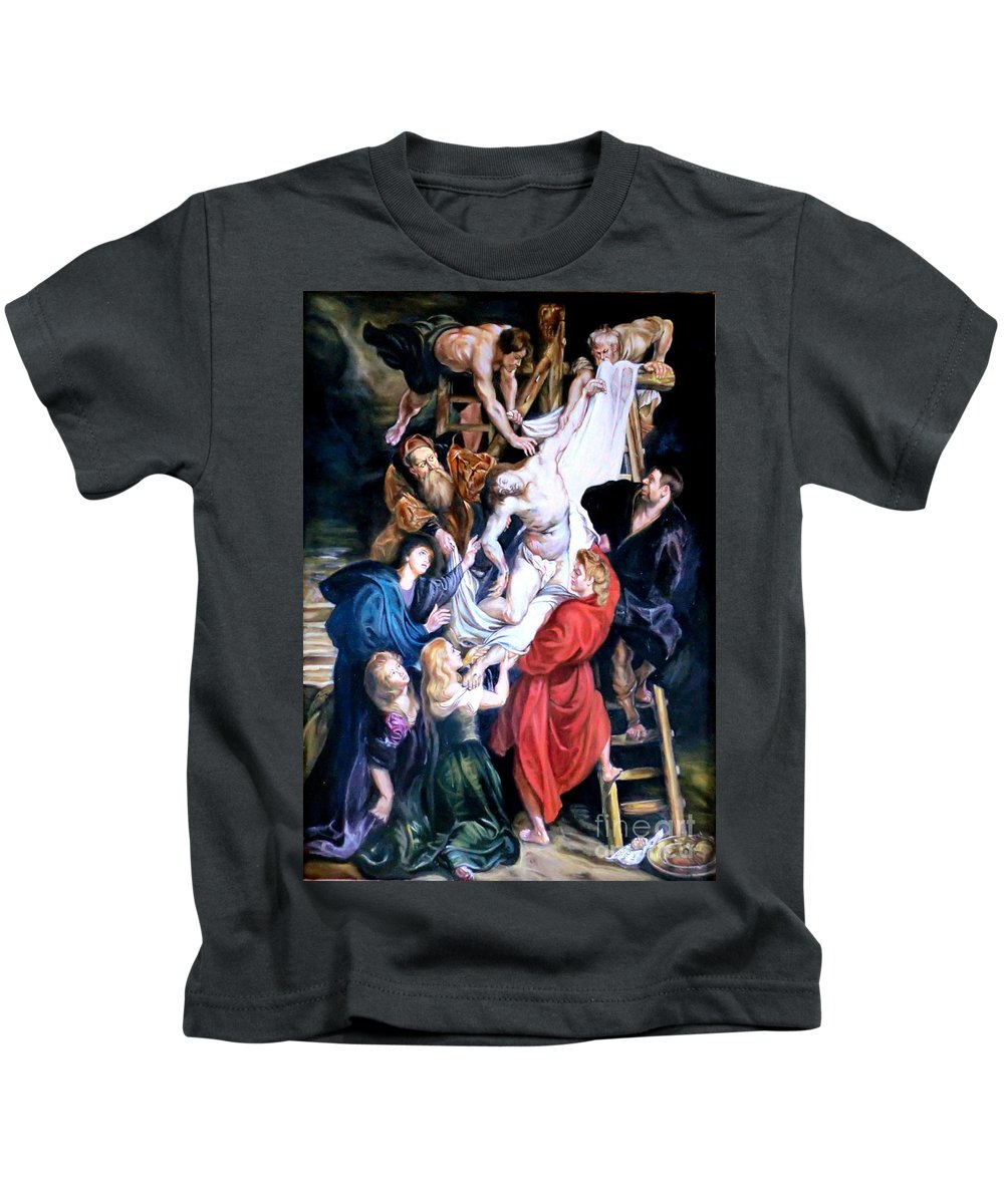 Oil Kids T-Shirt featuring the painting Descent From The Cross After Peter Paul Rubens by Hidemi Tada