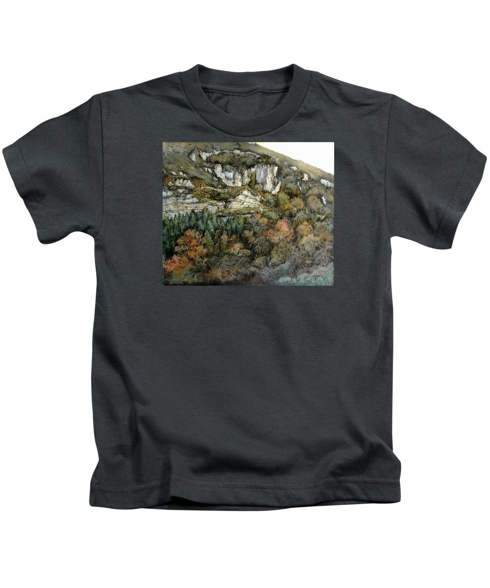 Desfiladero Kids T-Shirt featuring the painting Desfiladero Del Miera by Tomas Castano