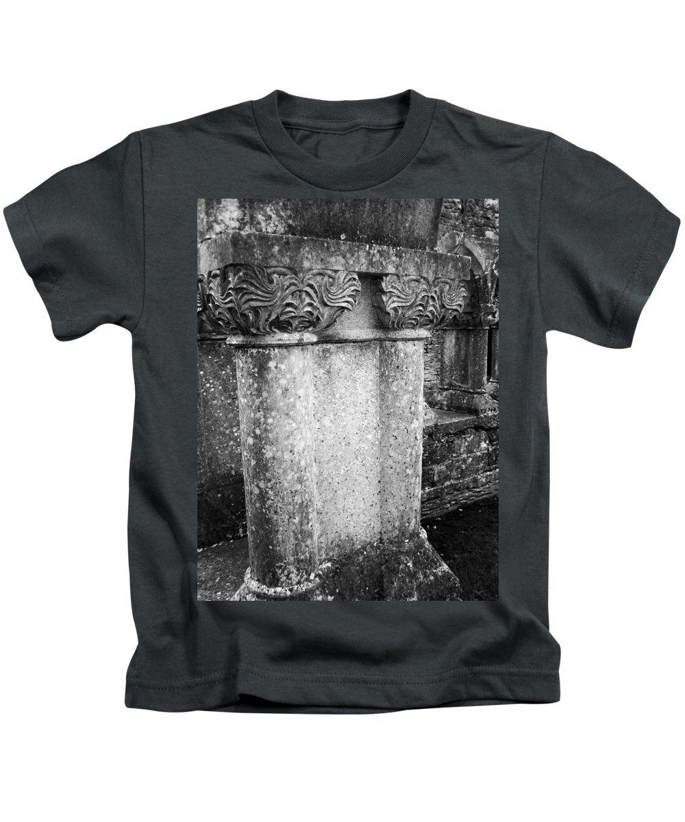 Irish Kids T-Shirt featuring the photograph Detail Of Capital Of Cloister At Cong Abbey Cong Ireland by Teresa Mucha