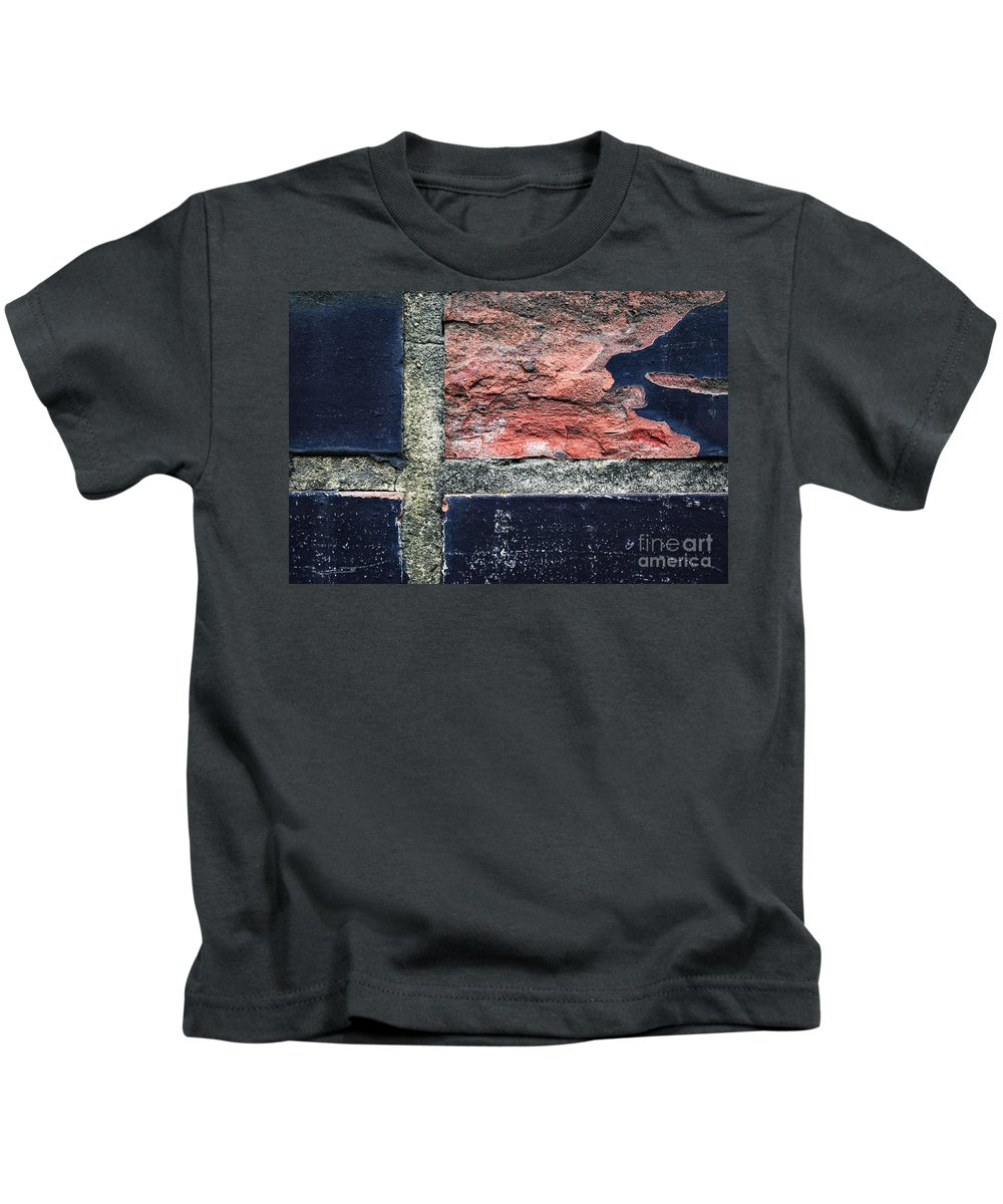 Wall Kids T-Shirt featuring the photograph Detail Of Damaged Wall Tiles by Jozef Jankola