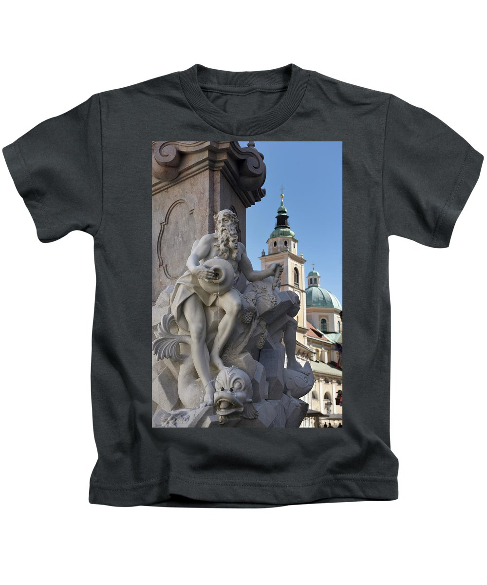 Detail Kids T-Shirt featuring the photograph Detail Of The Robba Marble Scultpure On The Fountain Of The Thre by Reimar Gaertner