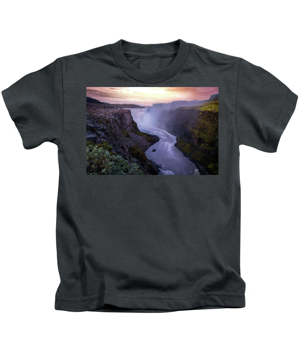 Landscape Kids T-Shirt featuring the photograph Detifoss by Siddhartha De