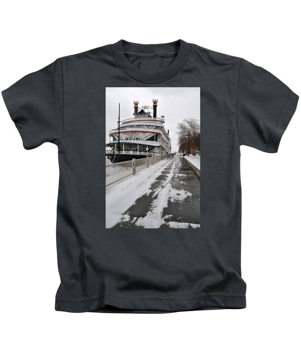Belle Isle Kids T-Shirt featuring the pyrography Detroit Princess by Tysha Rodriguez