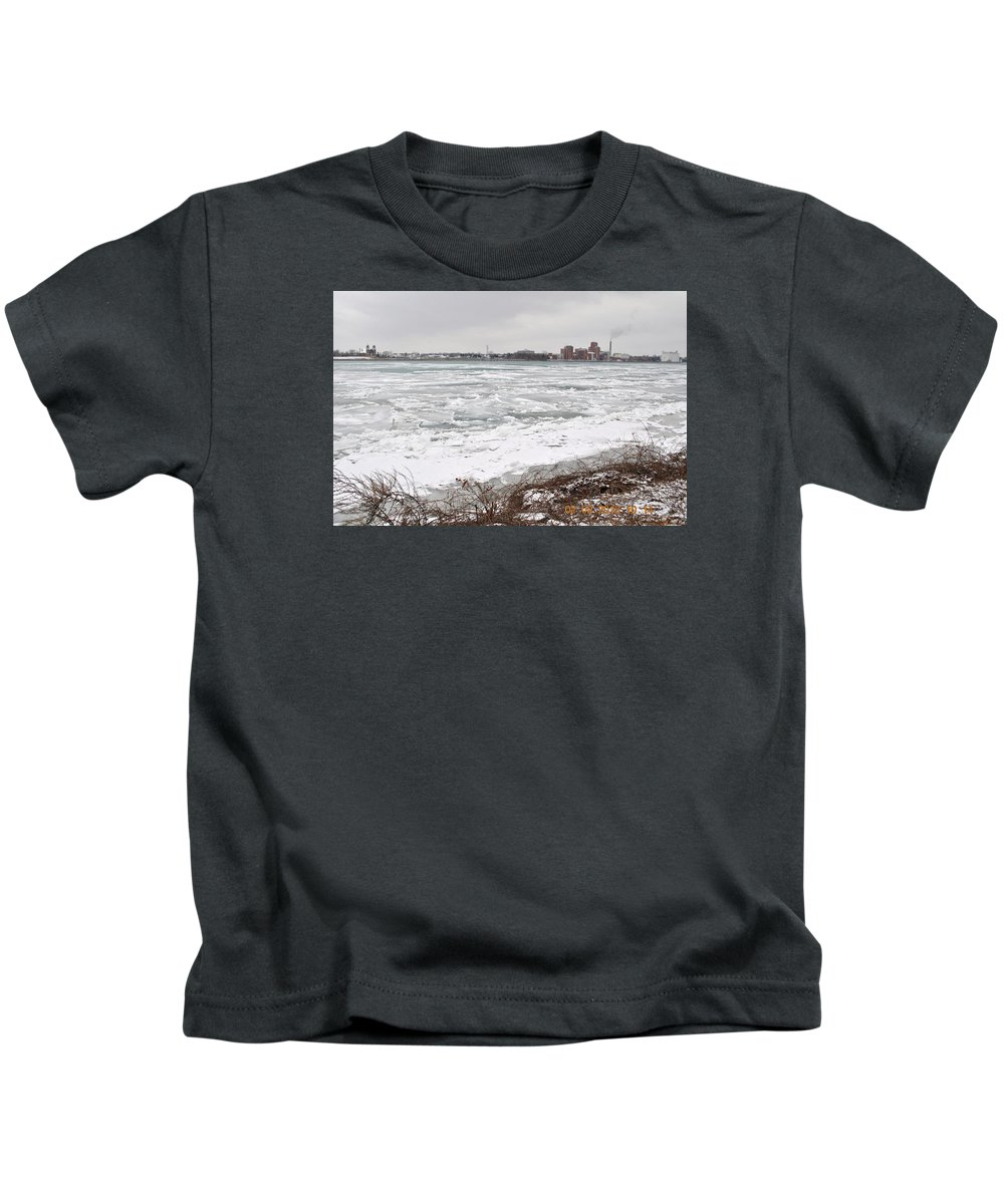 Belle Isle Kids T-Shirt featuring the pyrography Detroit River by Tysha Rodriguez