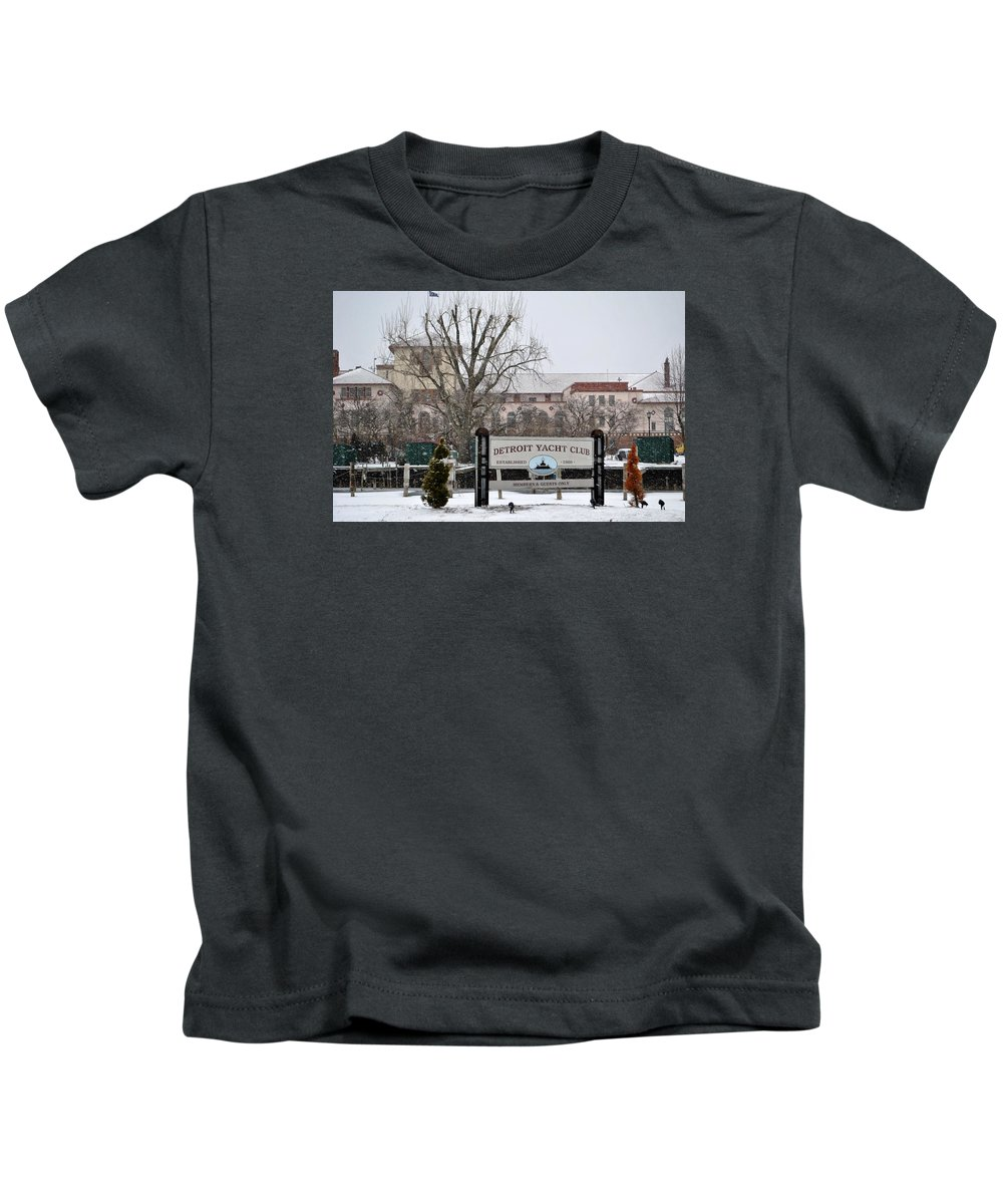 Belle Isle Kids T-Shirt featuring the pyrography Detroit Yacht Club by Tysha Rodriguez