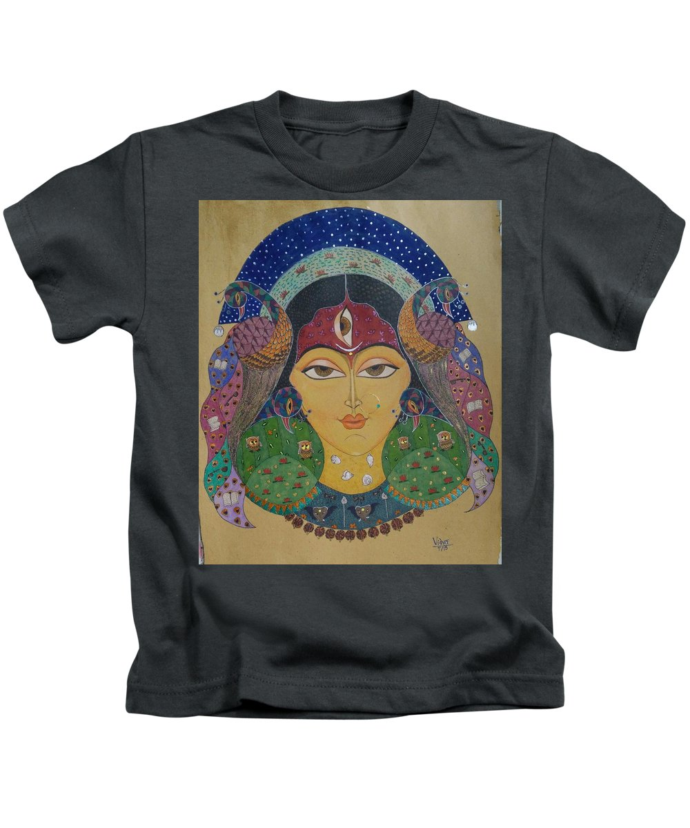Devi Kids T-Shirt featuring the painting Devi by Vidya Vivek