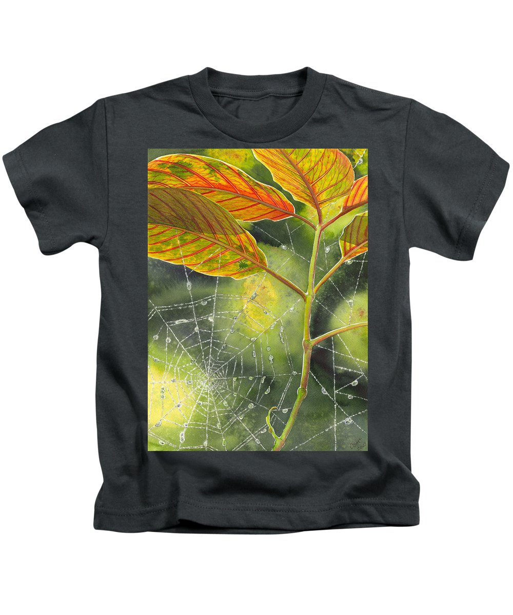 Web Kids T-Shirt featuring the painting Dew Drop by Catherine G McElroy