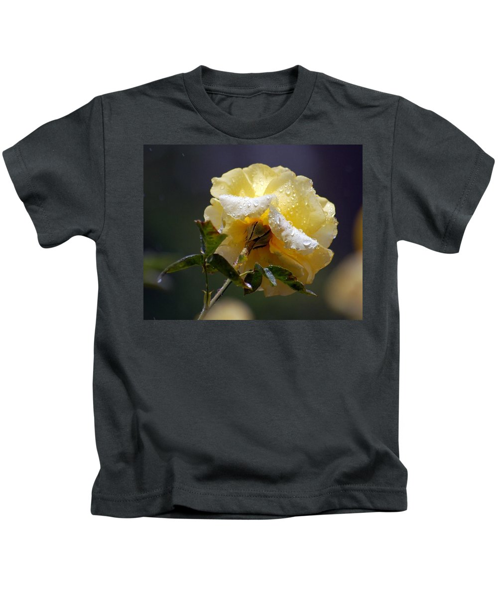 Flower Kids T-Shirt featuring the photograph Dewy Yellow Rose 1 by Amy Fose
