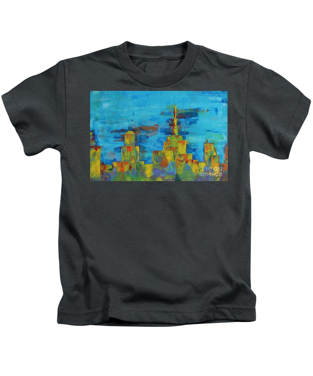 Abstract Kids T-Shirt featuring the painting Differentiation by Pinar Akbaba