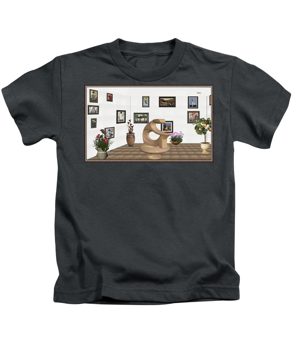 Modern Painting Kids T-Shirt featuring the mixed media digital exhibitartion _Statue of girl by Pemaro